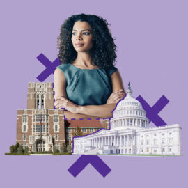 A woman standing at the intersection of higher education and government